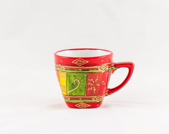 Red hand painted 20 cl porcelain coffee mug
