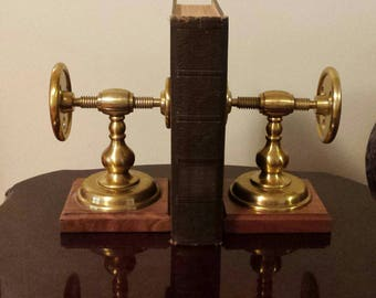 Rare vintage solid brass press type bookends originally carried by Jay Jeffers