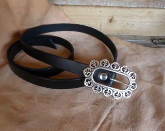 Nice black leather belt buckle
