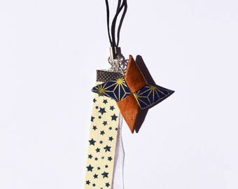 Accessory - Keychain - wearable Brown and midnight blue Origami Shuriken jewelry