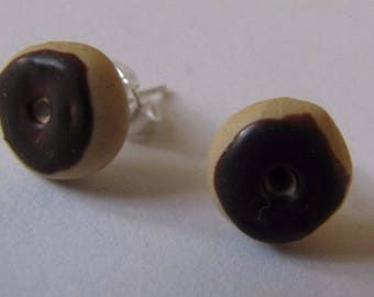 Chocolate donut earrings