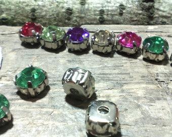 Set of 10 beads rhinestone /cabochons ☆ / Pine Green / 8 x 5 mm ☆