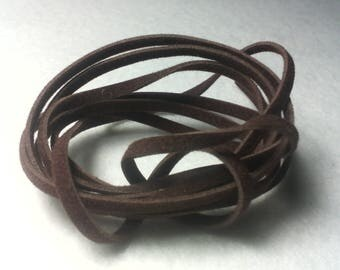 1 meter cord flat wool / suedine appearance / chocolate / 2 x 1 mm / creating jewelry, laces, assorted colors