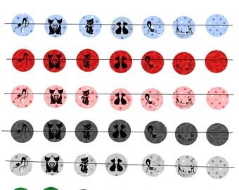 "Digital images ""Les Chats multicolor"" 20mm round"