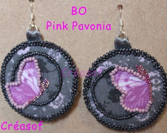 """Pink Pavonia"" fabric beaded Earrings"