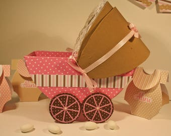 Table centerpiece for baby shower, christening or birthday shaped stroller