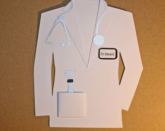 Thank you card personalized doctor doctor clothing blouse-shaped