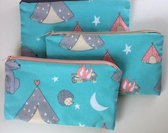 Camping Hedgehog Waterproof Washable Reusable Snack Bag