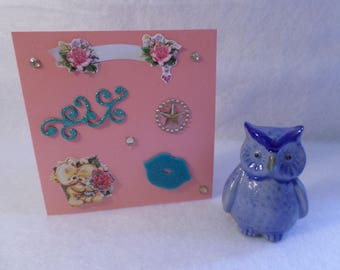 Card any occasion, pink and blue, cute bears