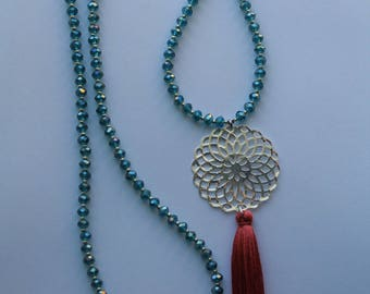 Necklace - Long tassel and ►Bleu cubic zirconia, silver beads and Corail◄