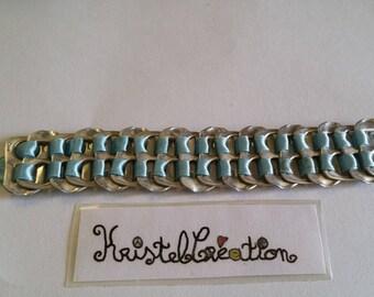 Bobbin Mod2 and sky blue ribbon bottle cap bracelet