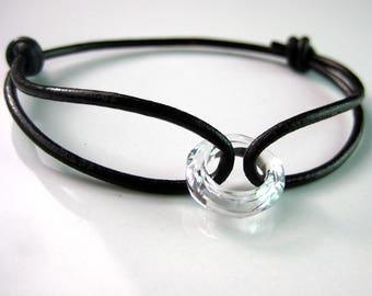 N3613 swarovski crystal and leather cord bracelet