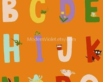 Kinder by Heather Ross for Windham Fabrics, Alphabet on Orange 43481-5