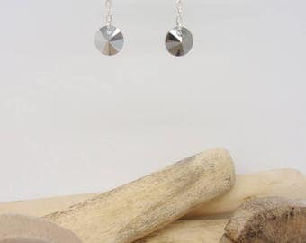 """Pastilles"" grey Swarovski Silver earrings"
