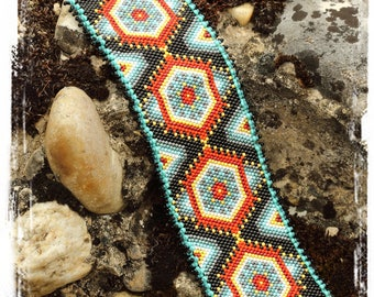 Huichol inspired cuff