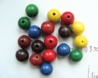 Set of 6 colors 18mm round wooden beads 18