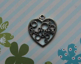 1 silver metal 18mm diam 'fortune' heart shaped charm