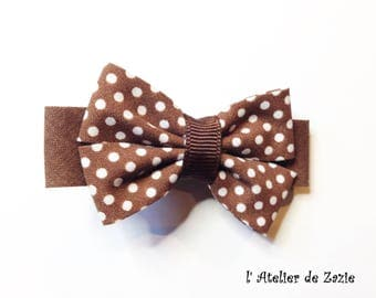 Hair clip bow ties on the bias from chocolate and chocolate polka dots