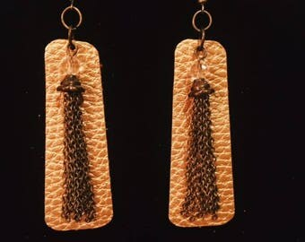 Gold, Faux Leather Earrings with Pendant