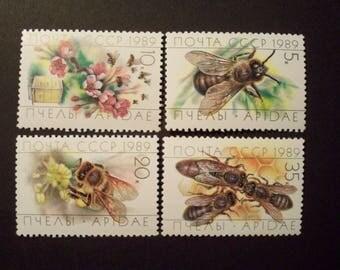 Russia, USSR, Postage Stamp Set** HONEYBEES**, Complete Set* 1989, Sc# 5771-5774,*MNH