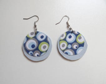 Leather and cotton blue and green earrings
