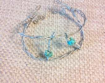 Turquoise and wire bracelet