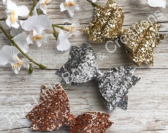 glitter bows, gold, silver, rose gold, hair accessories, hair bows,