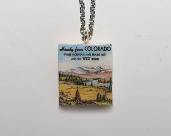 Howdy Colorado Reversible Scrabble Tile Necklace
