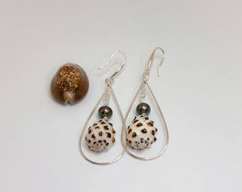 Silver Hoop Teardrop Earrings, with Pearls and Hawaiian Drupe Sea Shells. Made in Hawai'i.