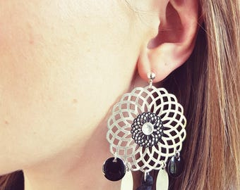 Earrings black and silver (drilled)