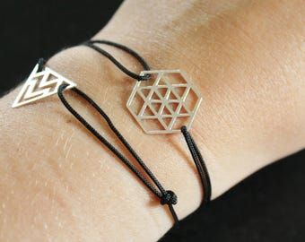 Black graphic HEXAGON 925 silver bracelet