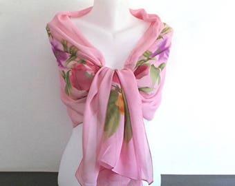 Pink scarf silk shawl with flowers