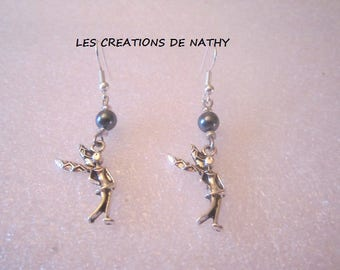 pair of Silver earrings charcoal color Pearl and Angel charm