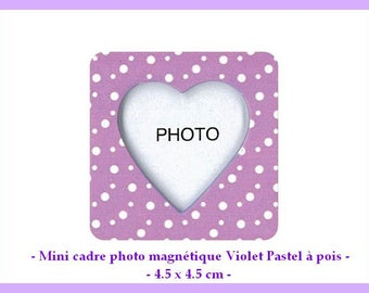 X 1 Mini magnetic photo frame with white dots - approximately 4.5 x 4.5 cm - new
