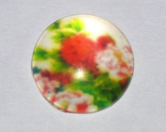 """Flowers"" in size 15mm glass cabochon"