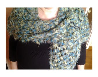 """""""Mosaic"""" shawl crocheted in shades of green and turquoise"""