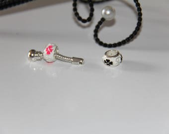 "The round bead with black flower on white enamel silver jewelry ""Pandora"" type"