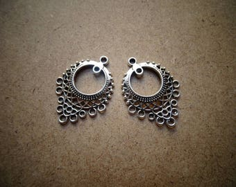 2 beads connector 9 hole ethnic metal - silver hoop row