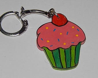 Pink and green cupcake keychain
