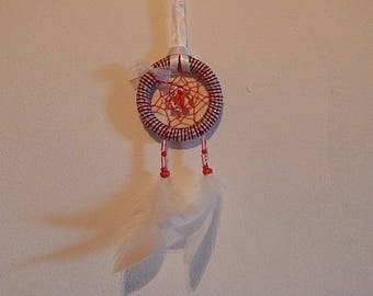 Dream catcher red and white with small white organza bow