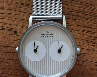 Vintage Skagen denmark mens dual-time 13ussw stainless ultra sim w/r 100ft japan quartz watch