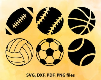 Sport Svg, Balls clipart, Football svg, Soccer svg, Baseball Svg, Sports svg, pdf, & png, Sport Dxf, Balls dxf, Sport balls svg, Sport balls