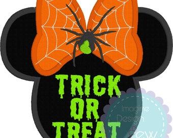 Halloween Minnie Silhouette Inspired applique machine embroidery design Instant Download 5x7 6x10