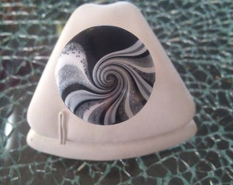 Ring spiral dome black polymer clay and glitter.