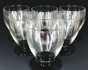 Maroon Flowered Base SNIFTERS/Shot  Brandy Glasses 2oz Set of 6