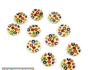 Set of 10 buttons round wood 15 mm 4 holes for sewing flower pattern, scrapbooking
