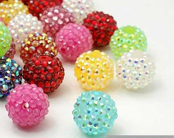 Set of 5 resin surrounded by 16 mm mixed color rhinestone beads