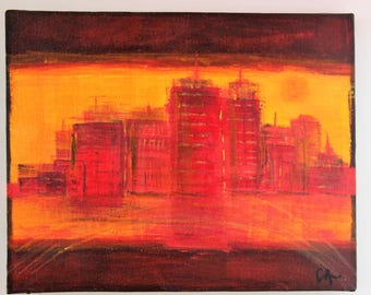Red city - figurative painting 24 x 30 cm
