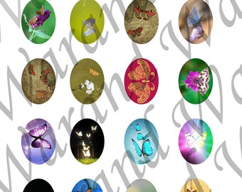 """Digital Board 20 digital images 30x40mm for cabochons theme """"Butterfly"""""""