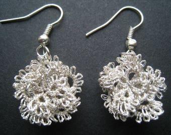 Tatting Silver Flower Earrings